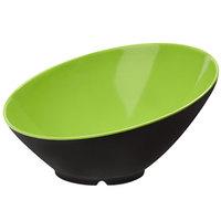 GET B-789-G/BK Brasilia 1.1 Qt. Green and Black Slanted Melamine Bowl - 6/Case