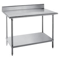 Advance Tabco KSS-246 24 inch x 72 inch 14 Gauge Work Table with Stainless Steel Undershelf and 5 inch Backsplash