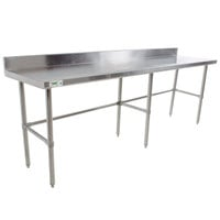 Regency 30 inch x 96 inch 16-Gauge 304 Stainless Steel Commercial Open Base Work Table with 4 inch Backsplash