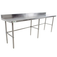 "Regency 30"" x 96"" 16-Gauge 304 Stainless Steel Commercial Open Base Work Table with 4"" Backsplash"