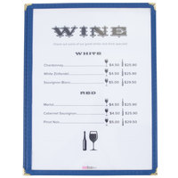 8 1/2 inch x 11 inch Blue Single Pocket Menu Cover