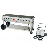 Crown Verity MCC-72 72 inch Mobile Outdoor Charbroiler Complete Set - 159,000 BTU
