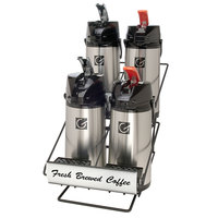 Grindmaster 70758 Wide Airpot Rack with Two Rows of Two 2.2 Liter Glass Lined Lever Action Airpots