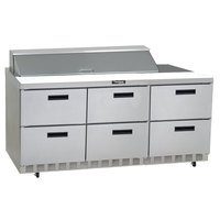 Delfield UCD4472N-18M 72 inch 6 Drawer Mega Top Reduced Height Refrigerated Sandwich Prep Table