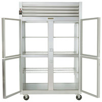 Traulsen G21004P 2 Section Glass Half Door Pass-Through Refrigerator - Left / Right Hinged Doors