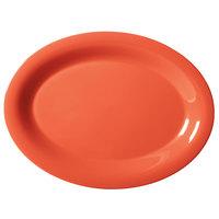 GET OP-135-RO Diamond Mardi Gras 13 1/2 inch x 10 1/4 inch Rio Orange Oval Melamine Platter - 12 / Case