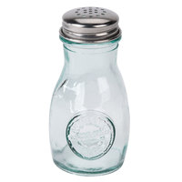 Tablecraft 6618 4 oz. Authentic Collection Recycled Green Glass Salt and Pepper Shaker with Stainless Steel Top - 24/Case
