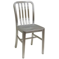 American Tables & Seating 57 Armless Slat Back Aluminum Chair