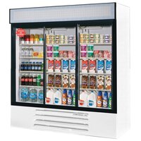 Beverage Air LV66Y-1-W LumaVue 75 inch Three Section Glass Door White Merchandising Refrigerator - 70 Cu. Ft.