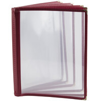 8 1/2 inch x 11 inch Six Pocket Clear Menu Cover - Burgundy