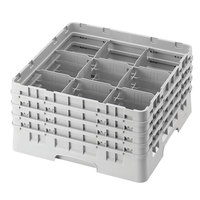 Cambro 9S1114151 Soft Gray Camrack Customizable 9 Compartment 11 3/4 inch Glass Rack