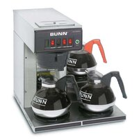 Bunn CWT15-3 12 Cup Automatic Coffee Brewer with 3 Lower Warmers (Bunn 12950.0112)
