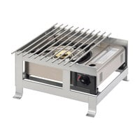 Cal-Mil 1576-74 Soho Silver Steel Butane Burner Frame - 14 inch x 13 3/4 inch x 7 1/4 inch