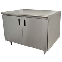 Advance Tabco HB-SS-244 24 inch x 48 inch 14 Gauge Enclosed Base Stainless Steel Work Table with Hinged Doors