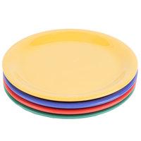 GET NP-6-MIX Diamond Mardi Gras 6 1/2 inch Narrow Rim Round Melamine Plate, Assorted Colors - 48/Case