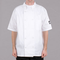 Chef Revival Bronze J105-S Size 36 (S) Customizable White Short Sleeve Double-Breasted Chef Coat - Poly-Cotton Blend