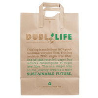 Duro Brown Printed 100% Recycled Shopping Bag with Handles 12 inch x 7 inch x 17 inch   - 300/Bundle