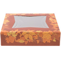 Southern Champion 2464 10 inch x 10 inch x 2 inch Rustic Orange Window Cake / Bakery Box with Autumn Design   - 150/Bundle
