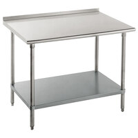 16 Gauge Advance Tabco FAG-364 36 inch x 48 inch Stainless Steel Work Table with 1 1/2 inch Backsplash and Galvanized Undershelf
