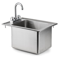 Regency 16 Gauge One Compartment 10 inch x 14 inch x 10 inch Stainless Steel Drop-In Sink with 8 inch Gooseneck Faucet