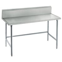 Advance Tabco TVKG-243 24 inch x 36 inch 14 Gauge Open Base Stainless Steel Commercial Work Table with 10 inch Backsplash