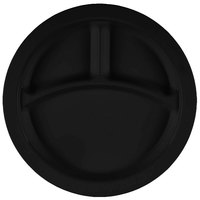 Cambro 93CW110 Camwear 3 Compartment 9 inch Black Polycarbonate Narrow Rim Plate - 48/Case