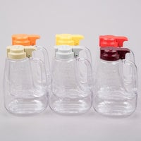 Tablecraft L64A 64 oz. Assorted Option Dispenser Jar with Colored Top - 6/Pack