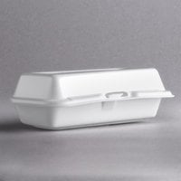 Dart 72HT1 7 inch x 4 inch x 2 inch White Foam Hinged Lid Hot Dog Container - 125/Pack