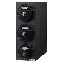 San Jamar L2913BK EZ-Fit Black 3-Slot Vertical 8 - 46 oz. Countertop Lid Dispenser Cabinet with Black Trim Ring