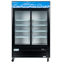 Avantco GDS47 53 inch Black Sliding Glass Door Merchandiser Refrigerator with LED Lighting