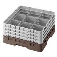 Cambro 9S318167 Brown Camrack Customizable 9 Compartment 3 5/8 inch Glass Rack