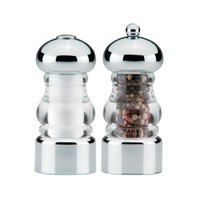 Chef Specialties 29160 Professional Series Lori 5 1/2 inch Acrylic and Chrome Pepper Mill and Salt Shaker Set