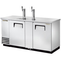 True TDD-3-S 70 inch Stainless Steel Three Keg Direct Draw Kegerator Beer Dispenser with Two Taps