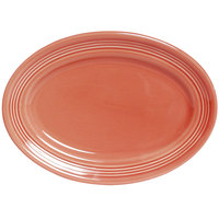 Tuxton Concentrix CNH-116 Cinnebar 11 1/2 inch x 8 3/8 inch Oval China Platter 12/Case