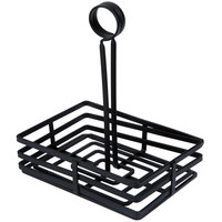 Choice Flat Coil Rectangular Wrought Iron Condiment Caddy - 7 7/8 inch x 5 1/2 inch x 9 1/2 inch