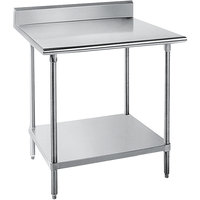 "Advance Tabco SKG-302 30"" x 24"" 16 Gauge Super Saver Stainless Steel Commercial Work Table with Undershelf and 5"" Backsplash"