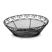 Tablecraft BK27508 Mediterranean Round Black Metal Basket - 8 inch x 2 1/4 inch
