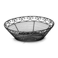 Tablecraft BK27508 Mediterranean Round Black Metal Basket - 8 inch x 2 1/4 inch
