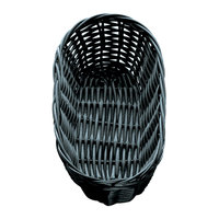 Tablecraft 2417 9 inch x 3 1/2 inch x 2 inch Black Oblong Rattan Basket   - 12/Pack