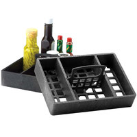 HS Inc. HS1046 7 inch x 10 inch Charcoal Polyethylene 4 Bin Tabletop Condiment Organizer   - 12/Case