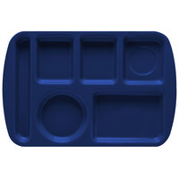 GET TL-151 Navy Blue Melamine 9 1/2 inch x 14 3/4 inch Left Hand 6 Compartment Tray - 12/Pack