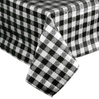 52 inch x 72 inch Black-Checkered Vinyl Table Cover with Flannel Back