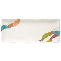GET 142-28-CO 11 inch x 4 1/2 inch Contemporary Melamine Rectangle Plate with Wavy Edges   - 12/Pack