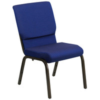 Flash Furniture XU-CH-60096-NVY-DOT-GG Navy Blue Dot Patterned 18 1/2 inch Wide Church Chair with Gold Vein Frame
