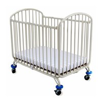 L.A. Baby CS-72 24 inch x 38 inch White Folding Metal Arch Crib with 3 inch Fire Retardant Mattress
