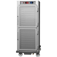 Metro C5 9 Series C599L-SDC-UPDC Full Size Insulated Low Wattage Pass-Through Holding Cabinet with Clear Dutch Doors and Chrome Universal Slides