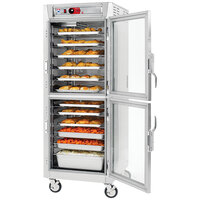 Metro C5 8 Series C589L-SDC-UPDC Full Size Insulated Low Wattage Pass-Through Holding Cabinet with Clear Dutch Doors and Chrome Universal Slides