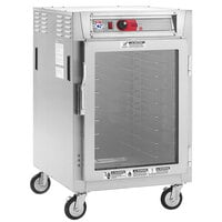 Metro C5 8 Series C585L-SFC-UPFS Half Size Insulated Low Wattage Pass-Through Holding Cabinet with Clear Door and Stainless Steel Universal Slides