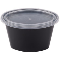 Newspring E504B ELLIPSO 4 oz. Black Oval Plastic Souffle / Portion Cup with Lid 500/Case - 500/Case