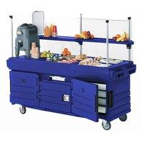 Cambro KVC854186 CamKiosk Navy Blue Customizable Vending Cart with 4 Pan Wells